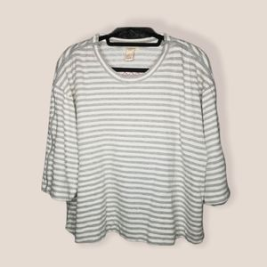 SUNDANCE zip sleeve sweater crop stripe gray XL